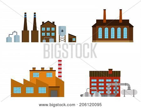 Factories set isolated on white background. Factory icon in the flat style. Industrial factory building. Manufacturing power building. Decorative factory icon. Vector illustration.