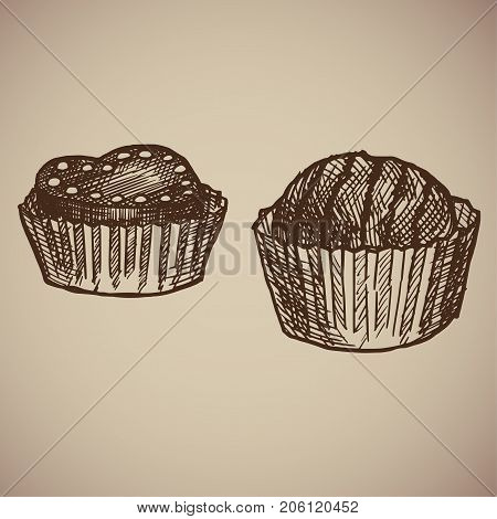 Engraving chocolate candies. Two delicious sweets in a wrapper. Compliment to tea. Engraving menu for the restaurant. Vector illustration.