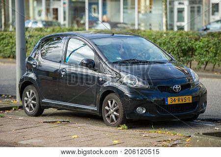 ROTTERDAM, THE NETHERLANDS - SEP 6, 2017: Toyota Aygo (AB40) car. The Toyota Aygo is a city car sold by Toyota in Europe since 2005. The name