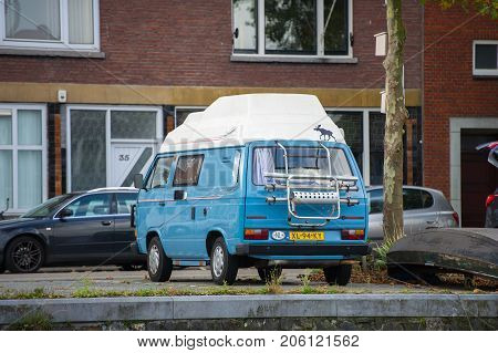 ROTTERDAM, THE NETHERLANDS - SEP 7, 2017: Volkswagen T3 Transporter  Camper van. The Volkswagen Transporter (T3) is a van produced by the German manufacturer Volkswagen Commercial Vehicles.