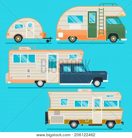 Retro camper trailer collection.Set of recolored traveler truck campers in flat style isolated on blue. Flat vector illustration