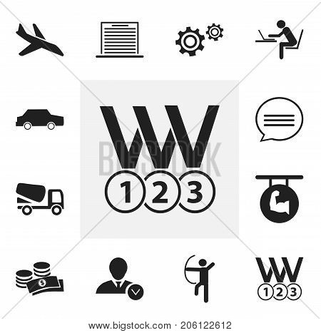 Set Of 12 Editable Complex Icons. Includes Symbols Such As Lorry, List, Medals And More