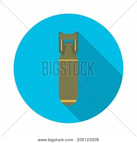 Bomb circle icon with long shadow. Flat design style. Bomb simple silhouette. Modern minimalist round icon in stylish colors. Web site page and mobile app design vector element.
