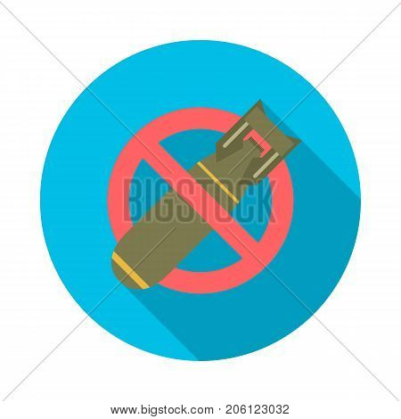 Stop bombing circle icon with long shadow. Flat design style. No bomb simple silhouette. Modern minimalist round icon in stylish colors. Web site page and mobile app design vector element.