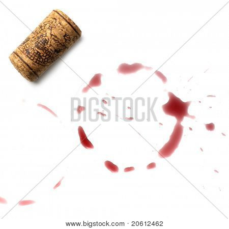 close up of red wine marks and cork