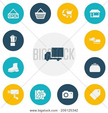 Set Of 13 Editable Shopping Icons. Includes Symbols Such As Ribbon, Trading Purse, Disbursement And More