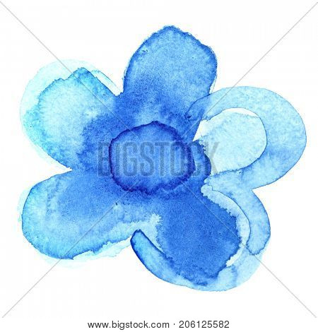 Painted abstract blue flower isolated on the white background