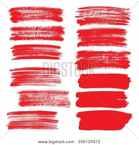 Set of red flat brush strokes isolated on the white background - raster illustration