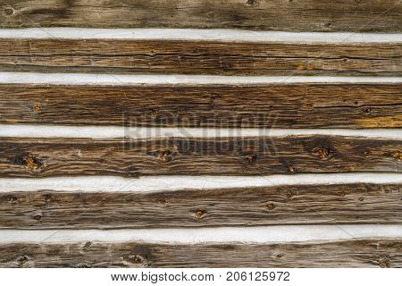 Vintage log cabin wall background and texture