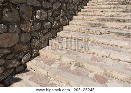 Stone Stairs In The Castillo De La Mola.