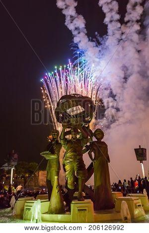 SINGAPORE - April 30: Fireworks in Universal Studio park at Sentosa Island in Singapore on April 30, 2016.