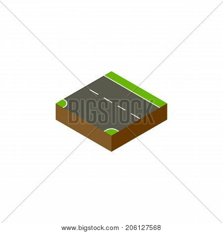 Downward Vector Element Can Be Used For Down, Downward, Road Design Concept.  Isolated Down Isometric.