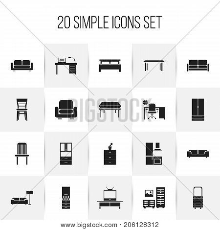 Set Of 20 Editable Furnishings Icons. Includes Symbols Such As Tv, Seat, Trestle And More