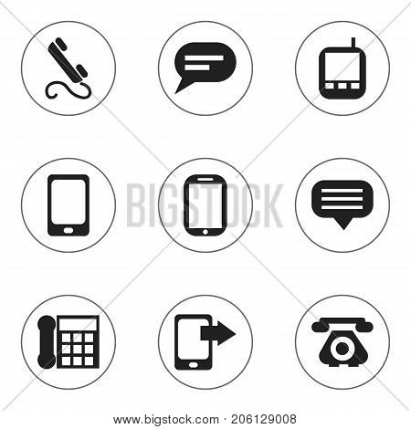 Set Of 9 Editable Device Icons. Includes Symbols Such As Smartphone, Transceiver, Phone And More