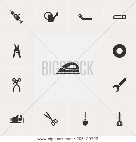Set Of 13 Editable Apparatus Icons. Includes Symbols Such As Shear, Screw Wrench, Circle Spanner And More