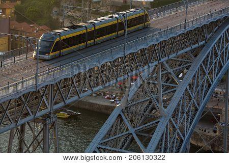 Dom Luis I bridge across the Douro river in Porto, Portugal.