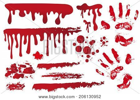 Set realistic bloody streaks. Handprint in the blood. Red splashes, spray, stains. Drops, drippings of bloodstains Isolated on white background. Halloween Concept.  Vector illustration