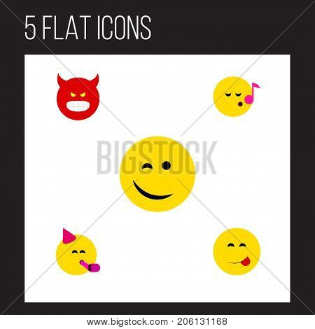 Flat Icon Emoji Set Of Pouting, Party Time Emoticon, Winking And Other Vector Objects