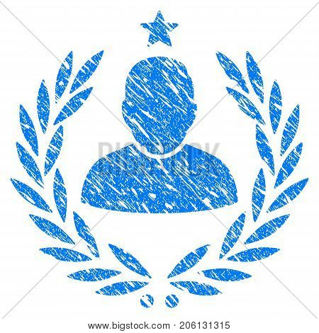 Grunge Man Glory Laurel Emblem icon with grunge design and dust texture. Unclean vector blue Man Glory Laurel Emblem pictogram for rubber seal stamp imitations and watermarks. Draft sign symbol.