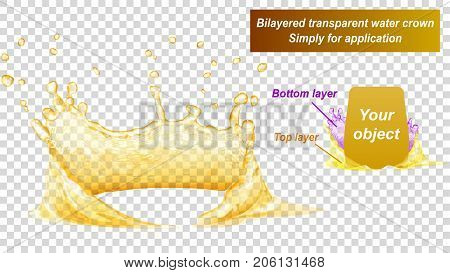 Transparent water crown consist of two layers: top and bottom. Splash of water in yellow colors isolated on transparent background. Transparency only in vector file