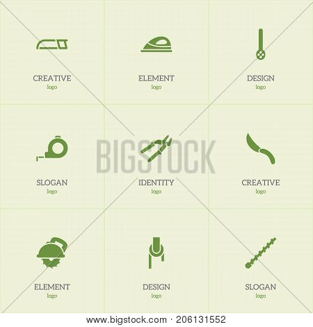 Set Of 9 Editable Tools Icons. Includes Symbols Such As Press Instrument, Band, Jackknife