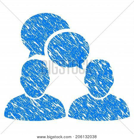 Grunge People Dialog icon with grunge design and dirty texture. Unclean vector blue People Dialog pictogram for rubber seal stamp imitations and watermarks. Draft emblem symbol.