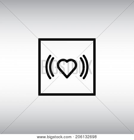 Heart beat flat vector sign. Heart beat isolated icon. Arrhythmia indicator vector symbol.