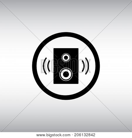 Sound flat vector icon. Sound isolated vector sign. Sound settings hexagon badge.