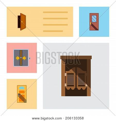 Flat Icon Approach Set Of Door, Exit, Lobby And Other Vector Objects