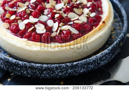 Cheesecake For Agar-agar With Cherries And Almonds