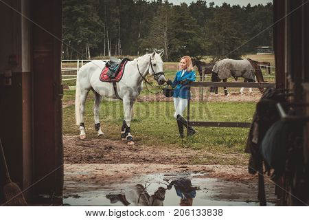 Middle-aged woman with her horse near a stall