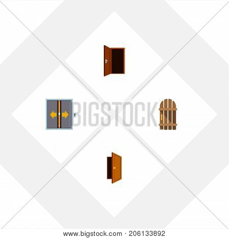 Flat Icon Approach Set Of Approach, Lobby, Wooden Fence And Other Vector Objects
