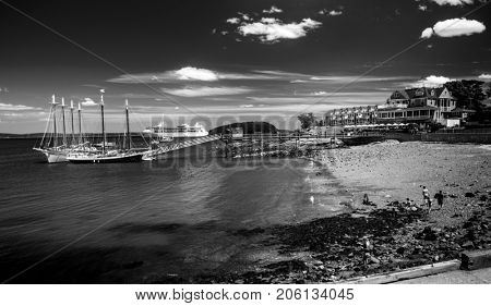 Dramatic black and white of Bar Harbor in Maine, USA
