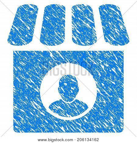 Grunge Shop Seller icon with grunge design and unclean texture. Unclean vector blue Shop Seller pictogram for rubber seal stamp imitations and watermarks. Draft sign symbol.
