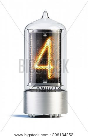 Nixie tube indicator isolated on white - set of decimal digits. Number 4. 3d rendering
