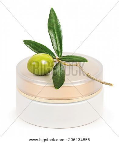 Jar of cream for the face with olive oil. Branch with green olives. Isolated on white background