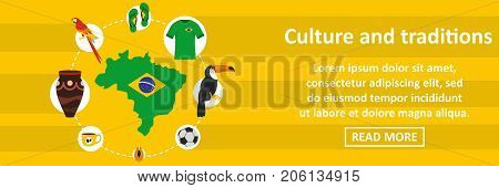 Brazil culture and traditions banner horizontal concept. Flat illustration of brazil culture and traditions banner horizontal vector concept for web design
