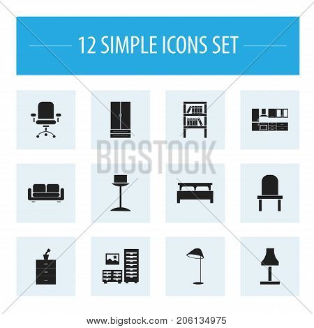 Set Of 12 Editable Interior Icons. Includes Symbols Such As Enlightenment, Bookrack, Plant Pot And More