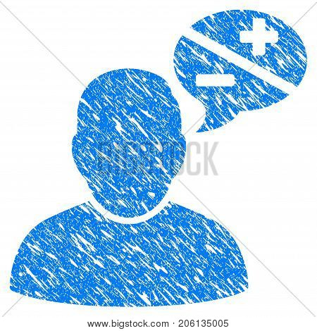 Grunge User Arguments icon with grunge design and unclean texture. Unclean vector blue User Arguments pictogram for rubber seal stamp imitations and watermarks. Draft sticker symbol.