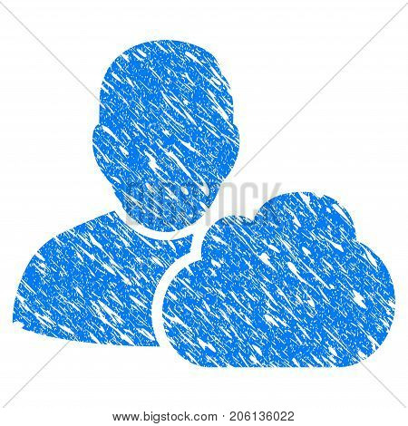 Grunge User Cloud icon with grunge design and scratched texture. Unclean vector blue User Cloud pictogram for rubber seal stamp imitations and watermarks. Draft emblem symbol.