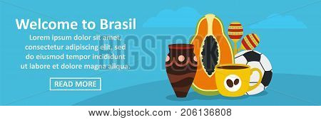 Welcome to Brasil banner horizontal concept. Flat illustration of welcome to Brasil banner horizontal vector concept for web design