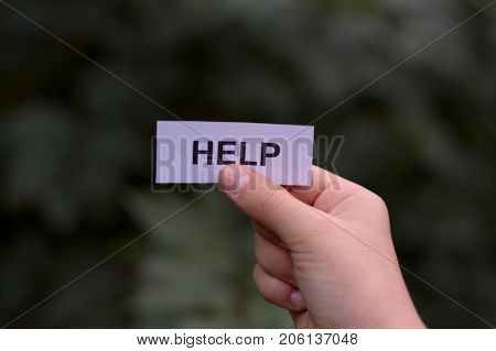 hands holding card written help