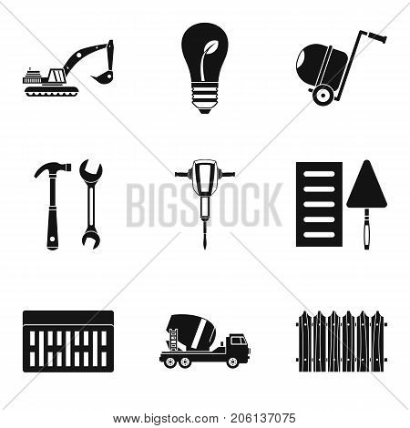 Cement icons set. Simple set of 9 cement vector icons for web isolated on white background