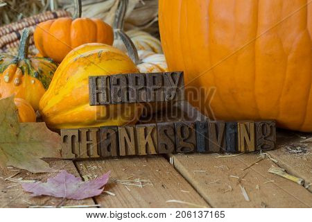 Colorful pumpkins and gourds on a wooden surface with Happy Thanksgiving text