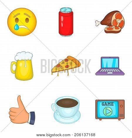 Deleterious effect icons set. Cartoon set of 9 deleterious effect vector icons for web isolated on white background