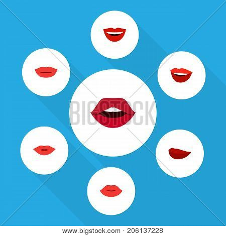 Flat Icon Mouth Set Of Pomade, Teeth, Kiss And Other Vector Objects