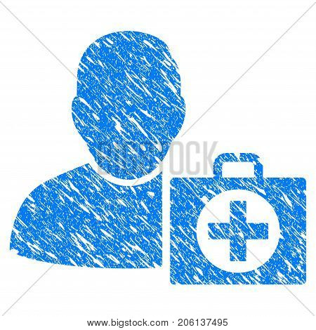 Grunge User First Aid icon with grunge design and dust texture. Unclean vector blue User First Aid pictogram for rubber seal stamp imitations and watermarks. Draft emblem symbol.
