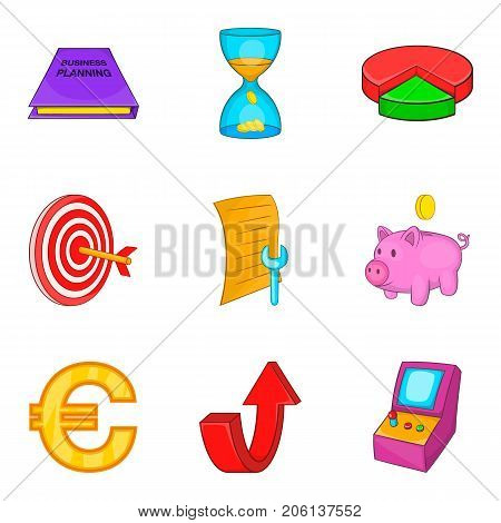Budget calculation icons set. Cartoon set of 9 budget calculation vector icons for web isolated on white background