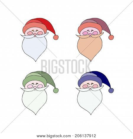 Santa Claus In Red Cap With Pompon Mustache With A Beard Isolated On White. Flat Style,icon. Festive