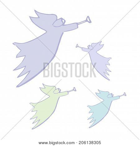 Angel Silhouettes With Simple Wings On A White. Vector Illustration Isolated